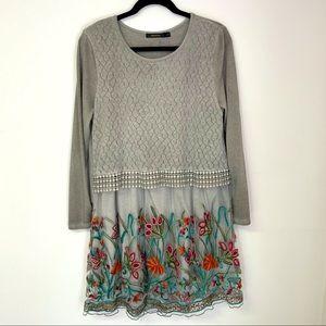 Radzoli Floral Embroidered Sweater Dress Large